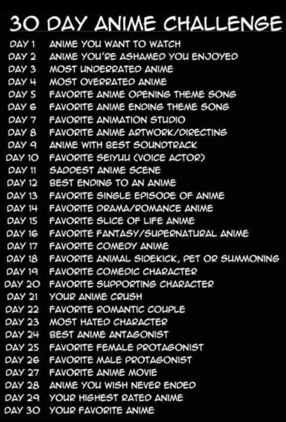 30 Day Anime Challenge