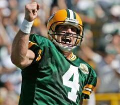 Favre celebrating